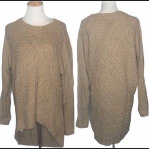 BCBGMaxazria Tan Oversized High Low Sweater xs